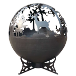 Deer Fire Globe black painted steel