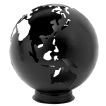 Earth Fire Globe Black Painted Steel